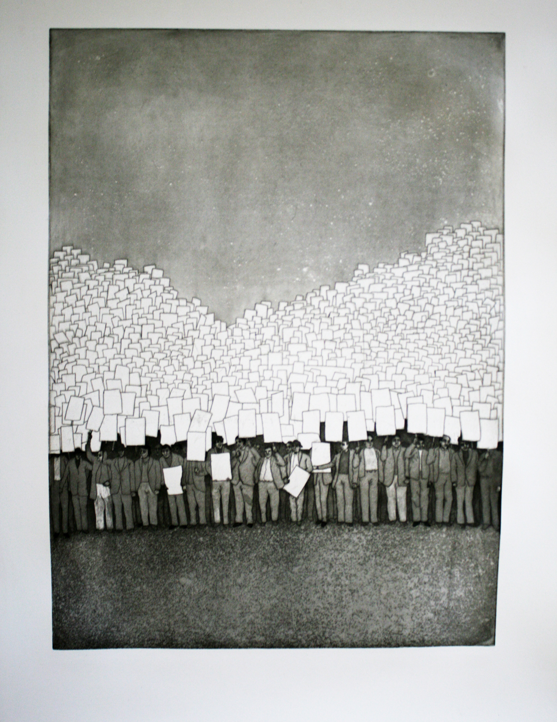 Kevin Clancy, The Walk for                      , 2008, Intaglio with aquatint